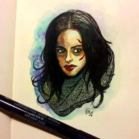 Jessica Jones, illustration. Elléa Bird, illustratrice, Lyon.