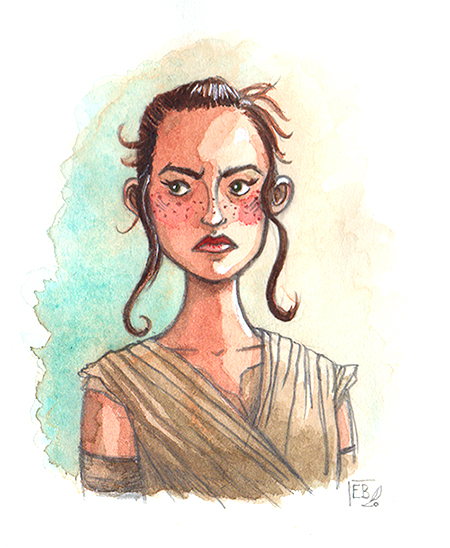 Rey (Star Wars), illustration. Elléa Bird, illustratrice, Lyon.