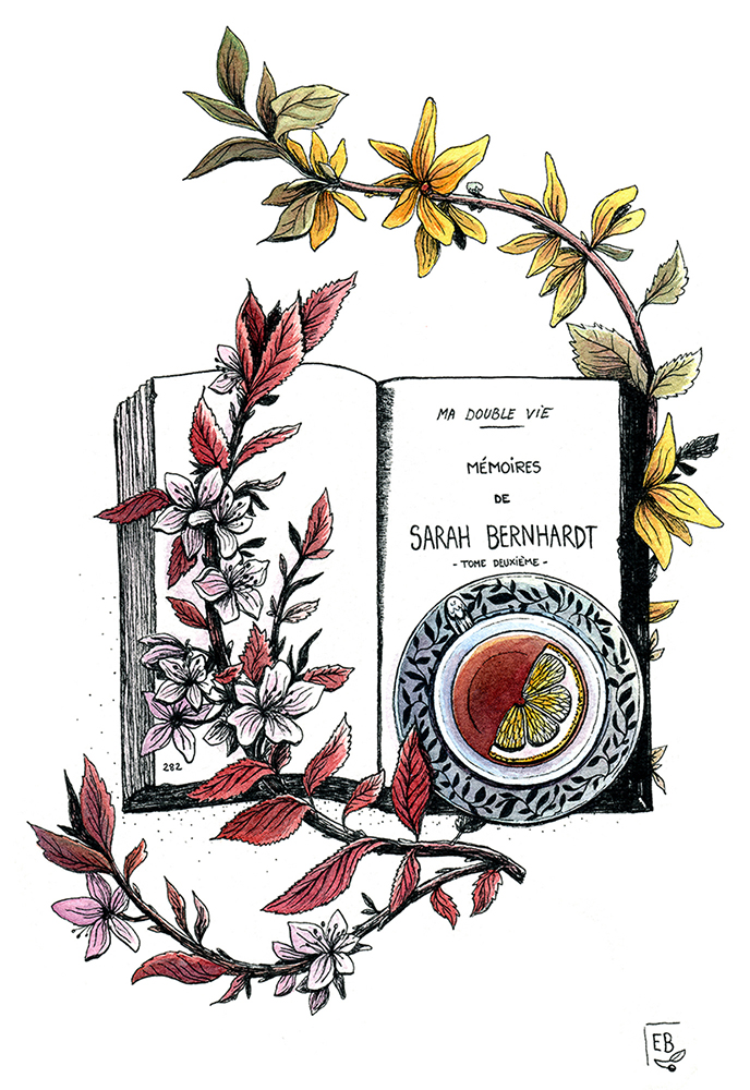 Tea time with Sarah bernhardt, illustration. Elléa Bird, illustratrice, Lyon.
