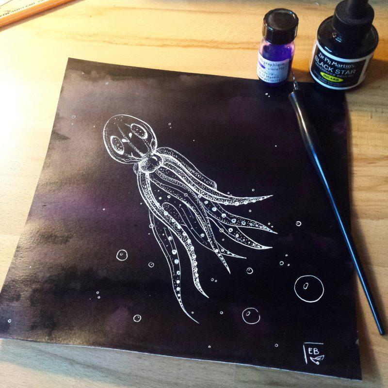 Sea creatures, illustration. Elléa Bird, illustratrice, Lyon.