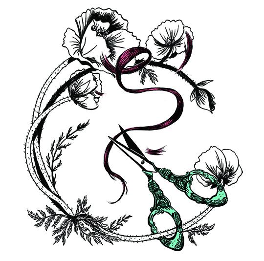 Claudine à Paris, Elléa Bird : illusstration ciseaux et mèche de cheveux