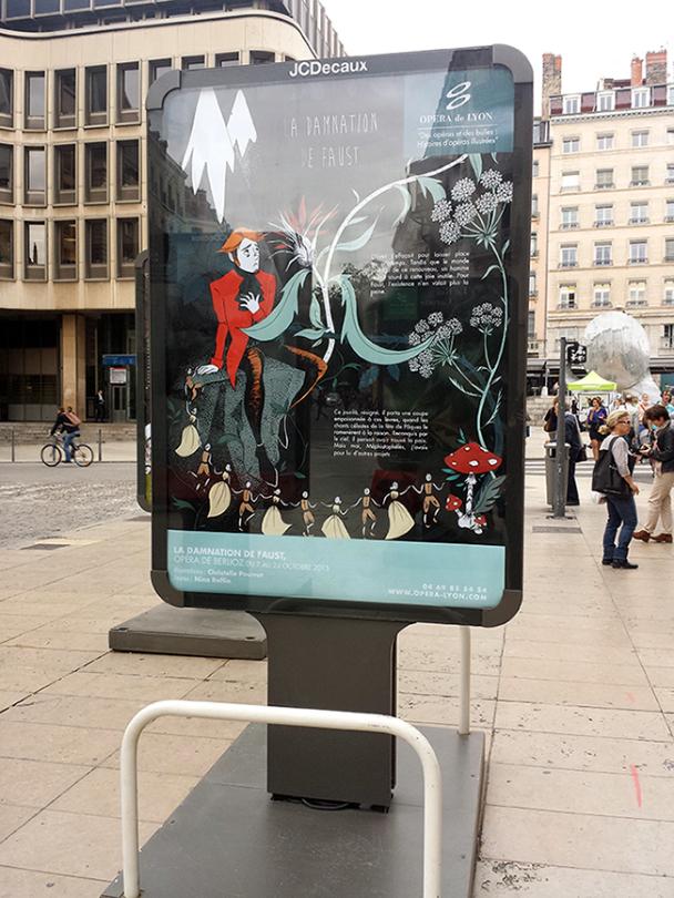 Panneau place de l'Opéra, Lyon. Illustration de La Damnation de Faust par Elléa Bird