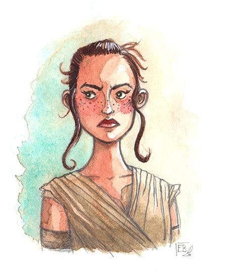 Rey (Star Wars), illustration. Elléa Bird, illustratrice, Lyon.