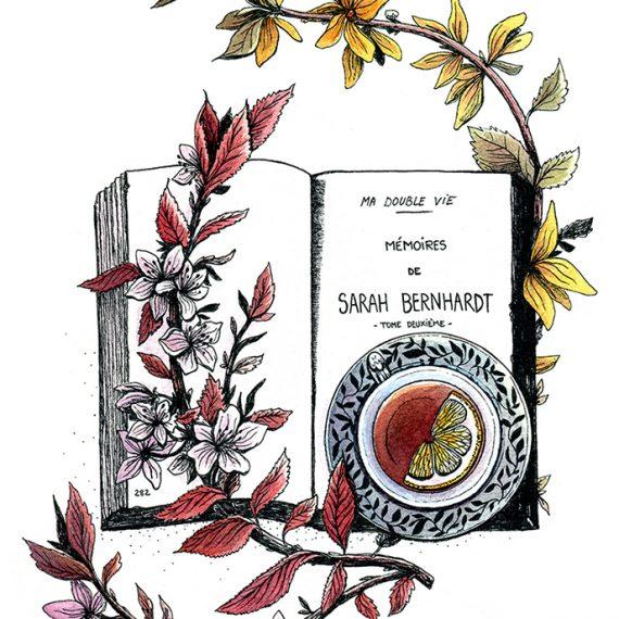 Tea time with Sarah bernhardt, illustration. Elléa Bird, illustratrice, Lyon.