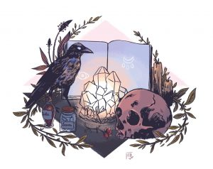 Ellea Bird : witchcraft altar illustration (Witchy Art Challenge)