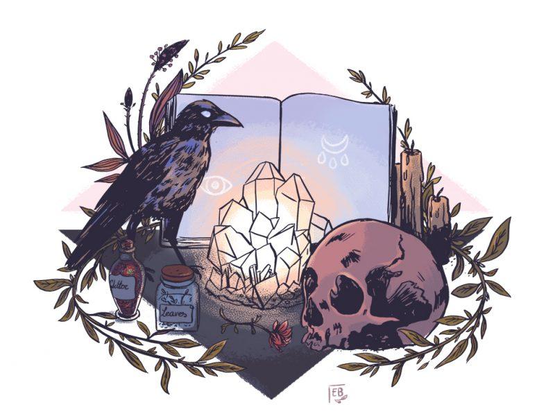 Ellea Bird : witchcraft altar illustration (Witchy Art Challenge)