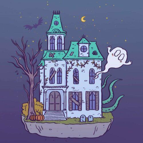 Haunted house illustration, Elléa Bird
