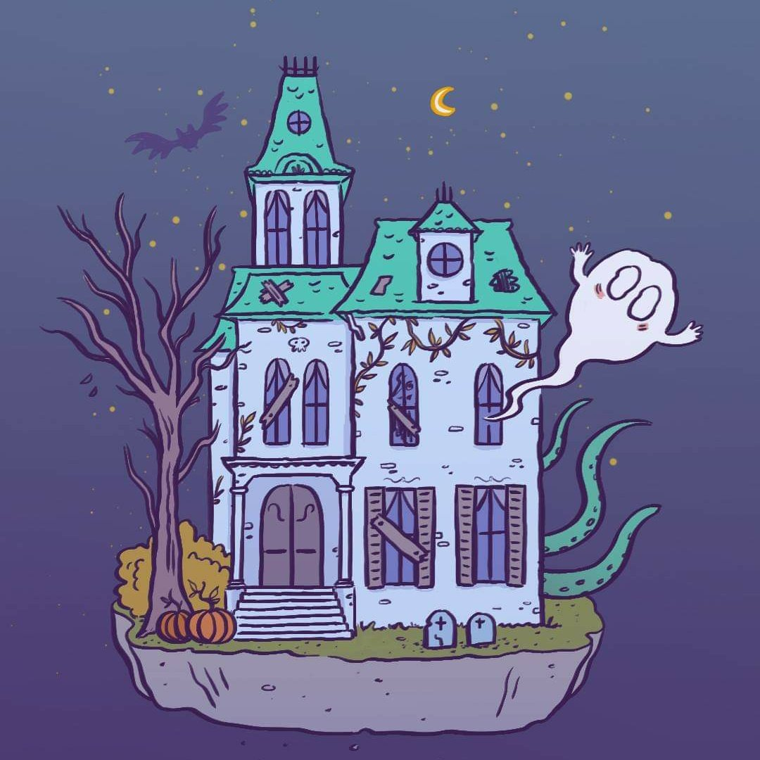 Haunted house illustration, Elléa Bird